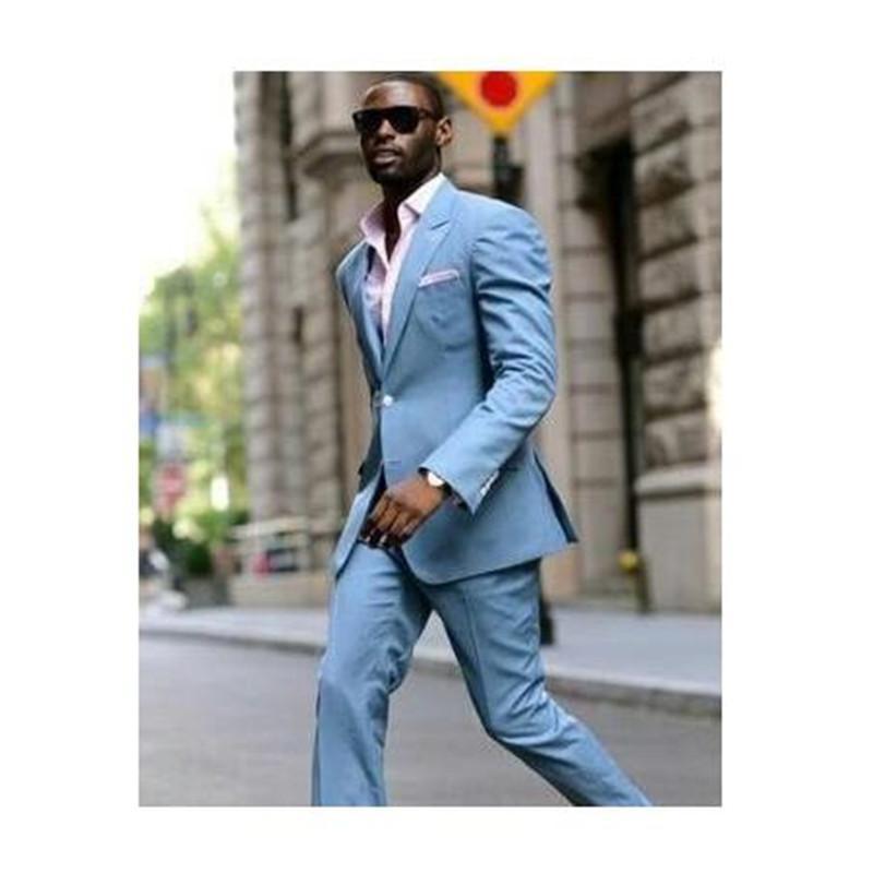 Compre 2018 Nuevo Traje Azul Claro De Los Hombres De Lino Para La Boda Slim  Coat Pant Design Slim Fit Novio Para La Chaqueta De La Boda Jacket + Pant A  ... 5f8be425a96