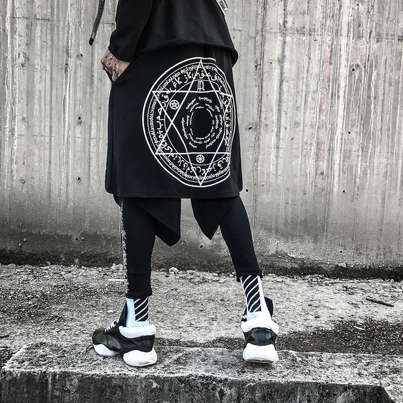 6d7a7e31f517d Compre Hombres Hip Hop Negro Punk Pantalones Harem Falda De Dos Piezas Streetwear  Hombre Discoteca Cantante Etapa Leggings Traje Hiphop Joggers A  54.4 Del  ...