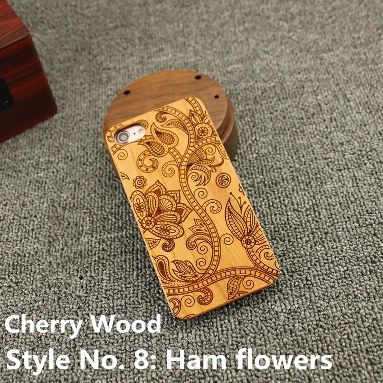 Style No. 8 Ham flowers Unique Stylish Classy Snap-On Real Wood Wooden Bamboo TPU Back Cover Case for iPhone X 8 7 6S 6 Plus 5 5S SE
