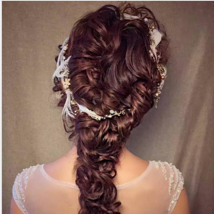 düğün gelinlik aksesuarları takı saç Elf ile Tüy headdress