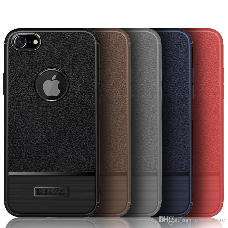 half off e9219 f2ec2 For iPhone 8 Plus Case Luxury Litchi Texture Carbon Fiber Brushed Wire  Drawing Silicone TPU Back Cover For iPhone8 Plus