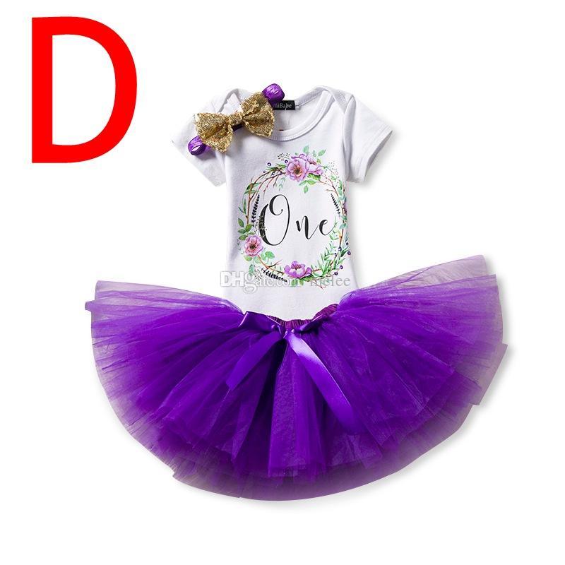 "Unicorn Gilrs ""One"" Birthday Party romper dress set infant white rompers & girls sequin bow tutu skirt & baby flower headband"