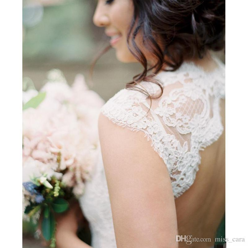 2018 Open Back Full Lace Country Wedding Dresses V Neck Cap Sleeves Plus Size Vintage Bohemian Bridal Gowns