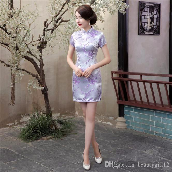 2018 New Red Chinese Women Traditional Dress Silk Satin Cheongsam Mini Sexy Qipao Flower Wedding Dress