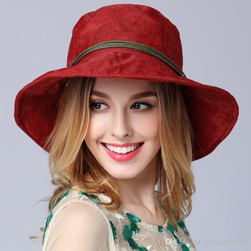 69fa96cc04898 Fashion Designer Foldable Bohemia Hat With Bow Ladies Sinamay Beach Caps  Summer Packable Wide Brim Vietnam Hat Womens Floppy Bucket Trilby Hats Hat  Store ...