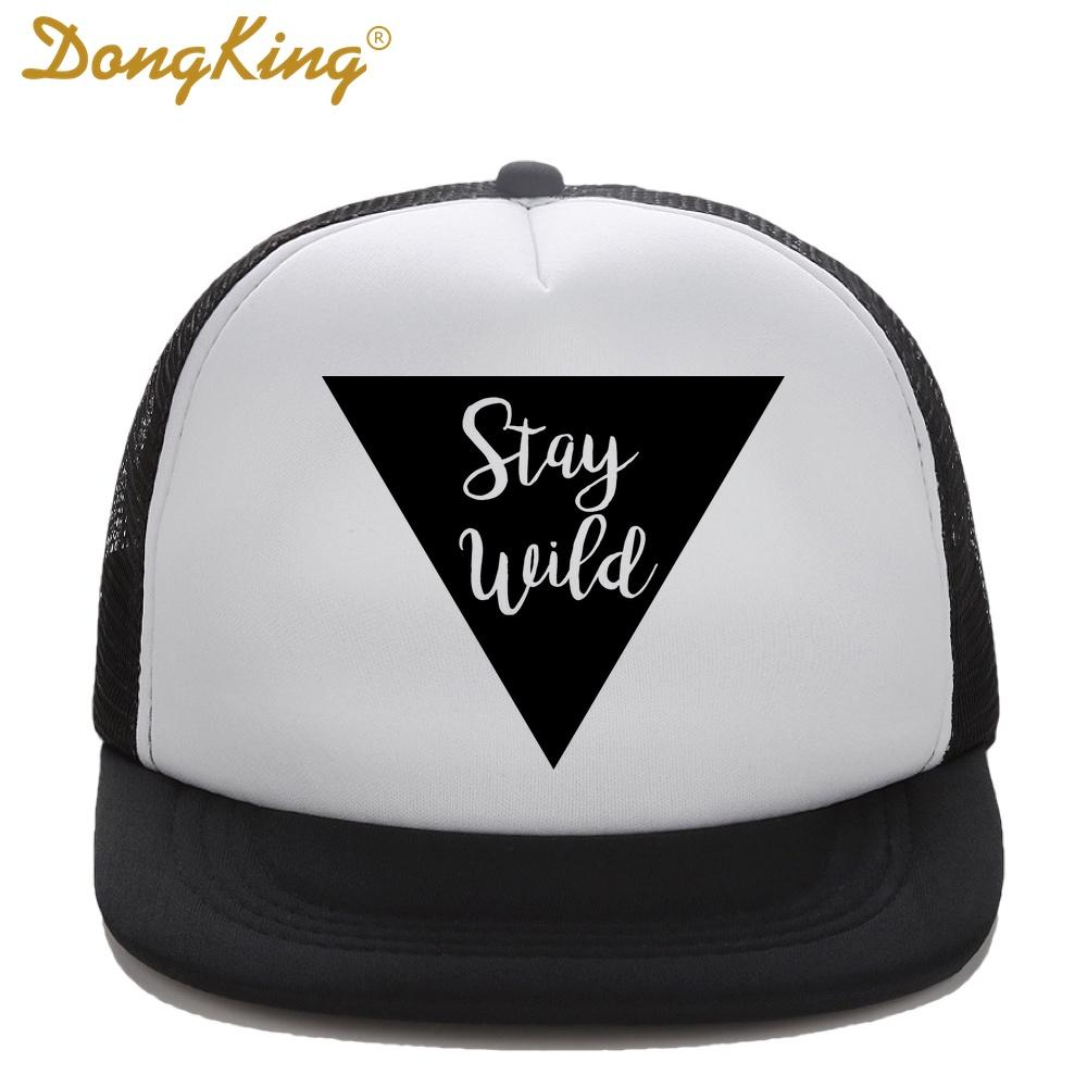 DongKing Kids Trucker Hat Stay Wild Print Trucker Cap Child Baby Son  Daughter Top Quality Baseball Snapback Hats Holiday Gift Caps Hats Fitted  Cap From ... f0fa225d49f