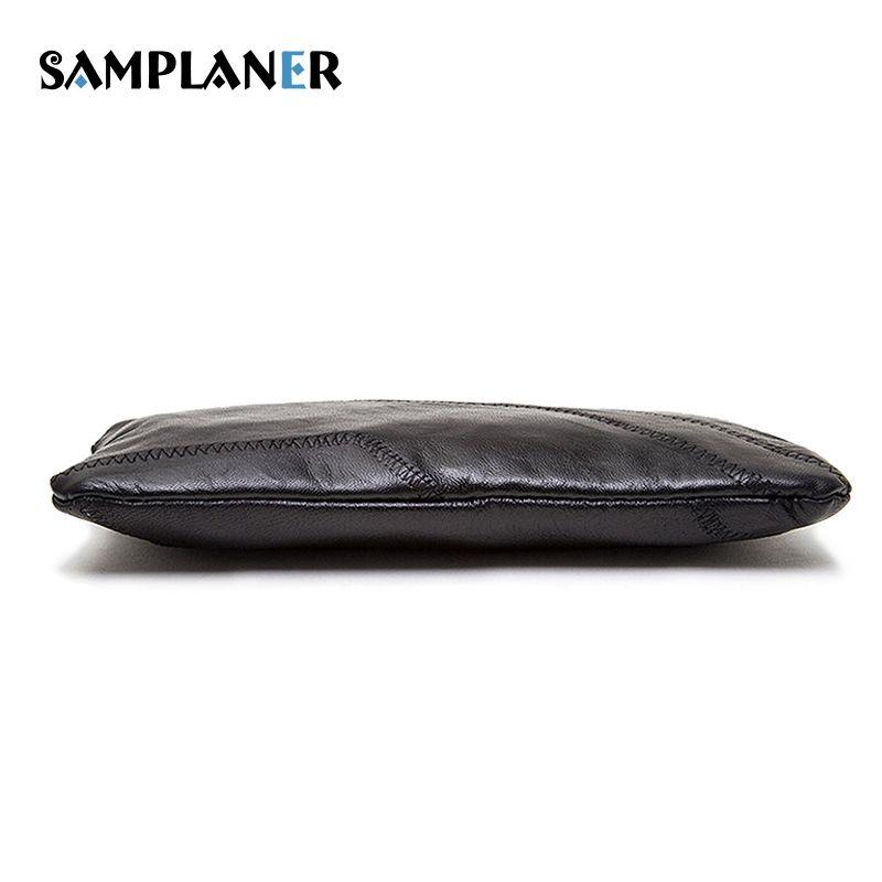 Samplaner Soft Sheepskin Clutch Bags Women Genuine Leather Wallet Casual Ladies Phone Handbag Female Zip Patchwork Wallets Black