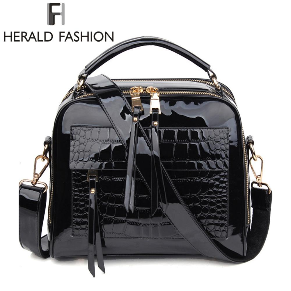 ac102ccf95d Herald Fashion Women Patent Leather Handbags Crocodile Design Shopper Tote  Bag Female Luxurious Shoulder Bags Branded Handbags Ivanka Trump Handbags  From ...