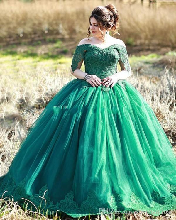 bacdd27b626 Elegant Dark Green Quinceanera Dresses Off The Shoulder Appliques Tulle  Floor Length Plus Size Ball Gown Prom Dresses Evening Wear Really Puffy  Quinceanera ...