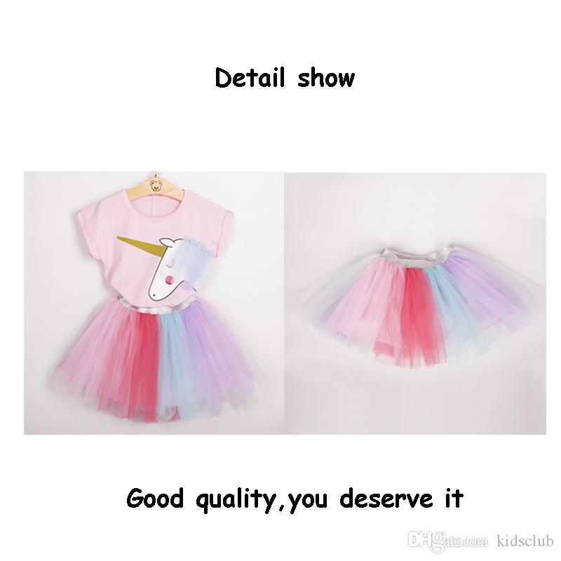 Korean Spring and Summer Explosion Models Children's Clothing Unicorn Pink Short-sleeved T-shirt and Color Yarn Skirt Suit