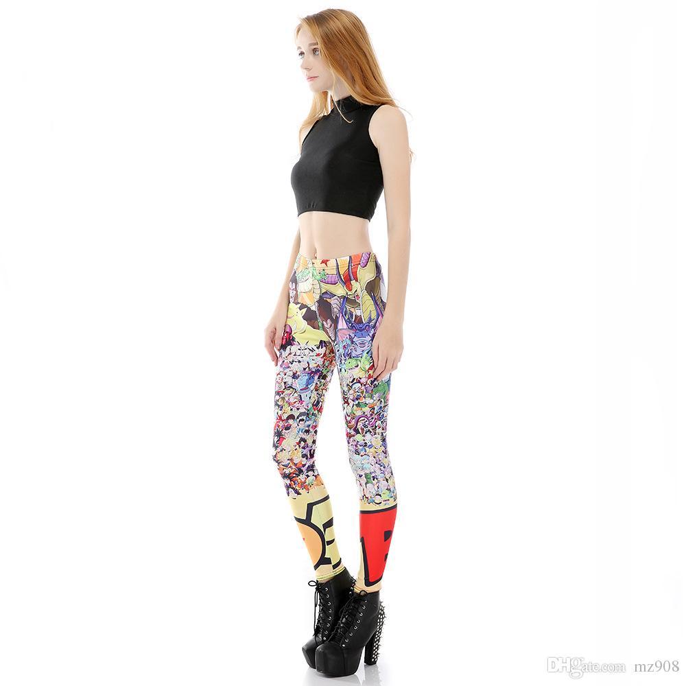 Gambali di anime di Cartoon Fitness Legging ragazze che stampano pantaloni da ginnastica casual