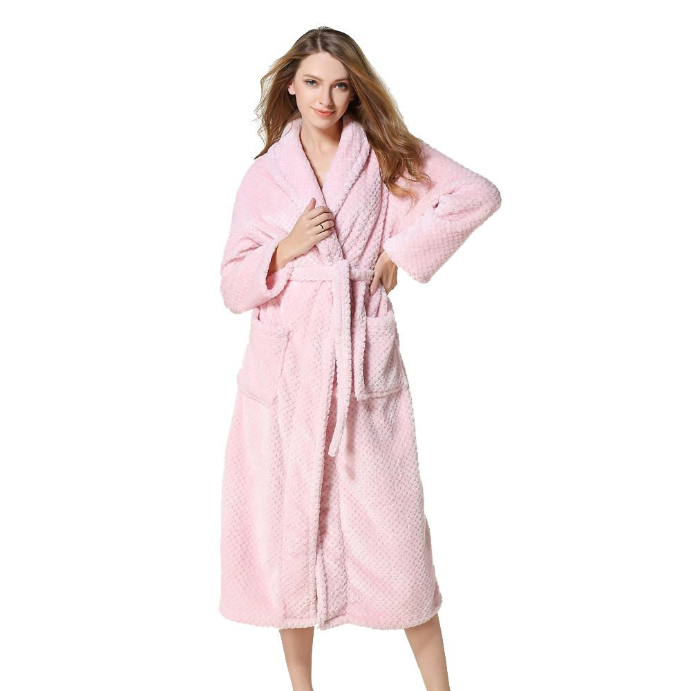 Woman Flannel Plus Size Bath Robe Winter Long Bathrobe Dressing Gown Womens  Robes Sleepwear Female Sexy Pajamas Cotton UK 2019 From Piaose 9cf70f6f9