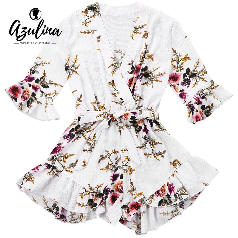 7d5961ae9f58 2019 20187 AZULINA Belted Floral Print Faux Wrap Romper Short Playsuits  Girls Woman Clothes Boho Summer Sweet Casual Loose Beach Jumpsuit From  Huang01