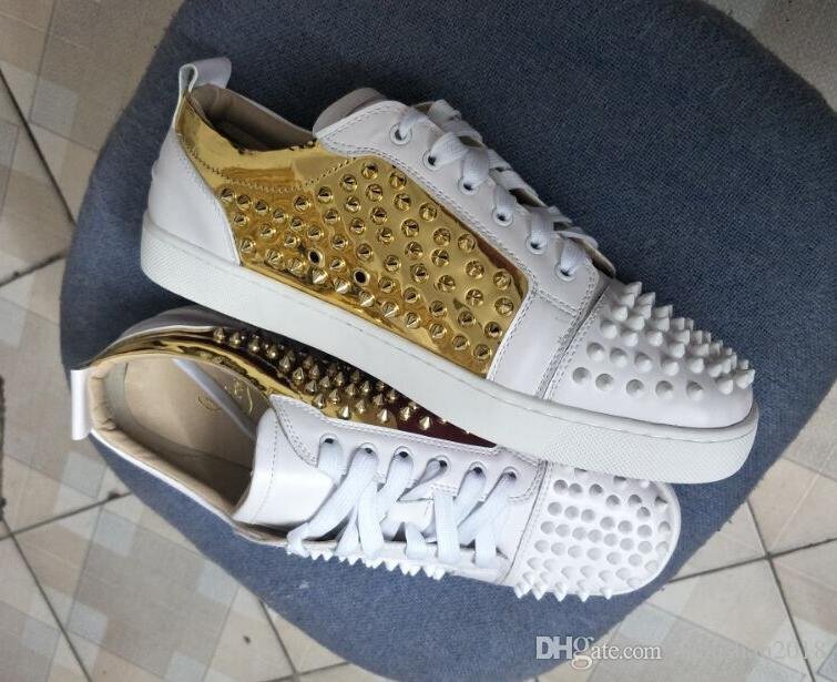 Fashion Red Bottom white low Top Women,Men Shoes Spikes Sneakers Shoes,Luxury Designer Rivets Flat Walking Shoes,Dress Party Wedding 36-47