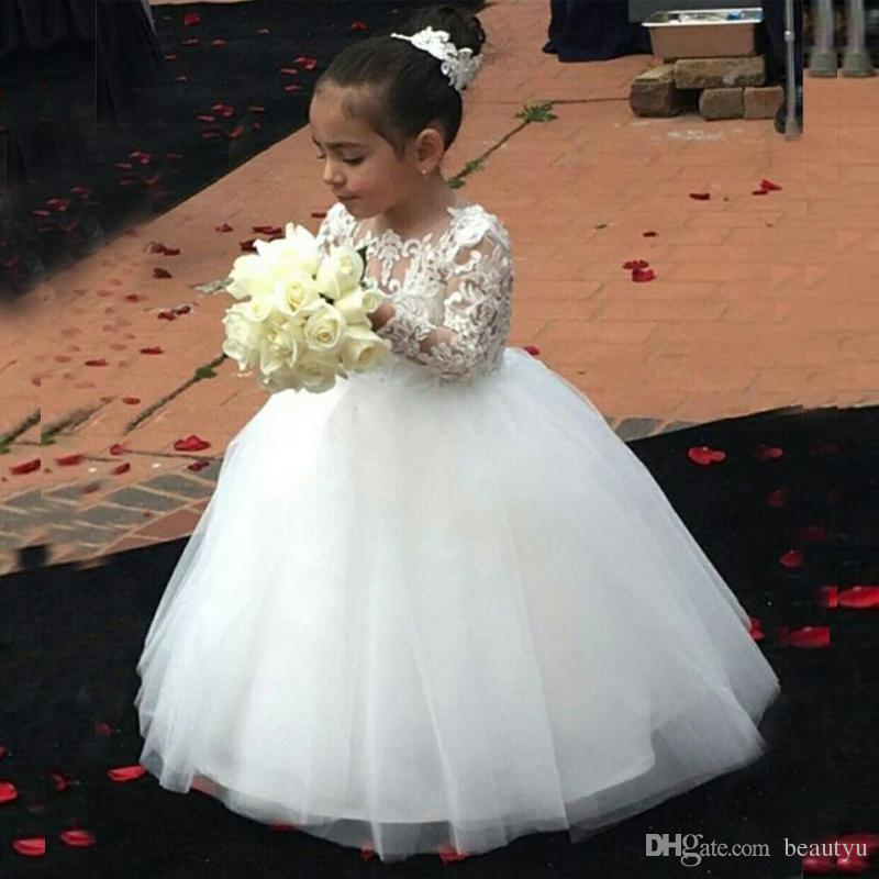 46584e00a26 Lovely Lace Tulle Flower Girls Dresses For Wedding White Princess Ball Gown  Girl Pageant Gowns Long Sleeves Children First Communion Dress Satin Flower  Girl ...