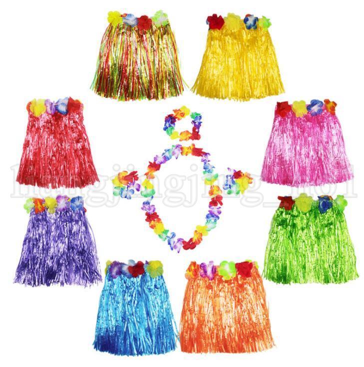 New Kids Adult Hawaiian Hula Grass Skirt Flower Wristband Party Beach DressRDFJ