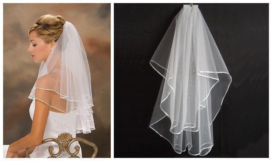 2019 nuevo más barato en stock blanco marfil dos capas velos de novia cortos con peine para vestidos de novia accesorios nupciales A15