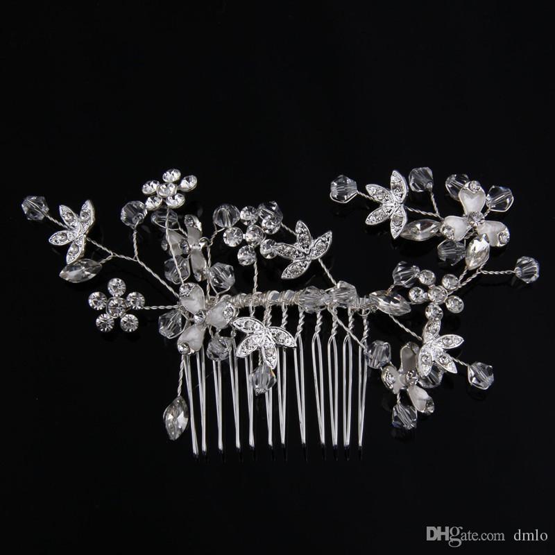 Or Argent Bridal Wedding Peignes De Cheveux De Mariée En Cristal Cheveux Peigne Filles Coiffe Pour Femmes Strass Coiffure Bijoux De Cheveux Accessoires