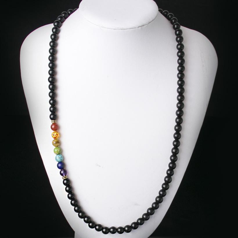 c1d47f9e1836 Compre Onyx Negro 8mmm Collar De Cuentas Mujeres 7 Chakra Multicolor Para  La Sabiduría Collar De Meditación De Piedra Natural De La Yoga
