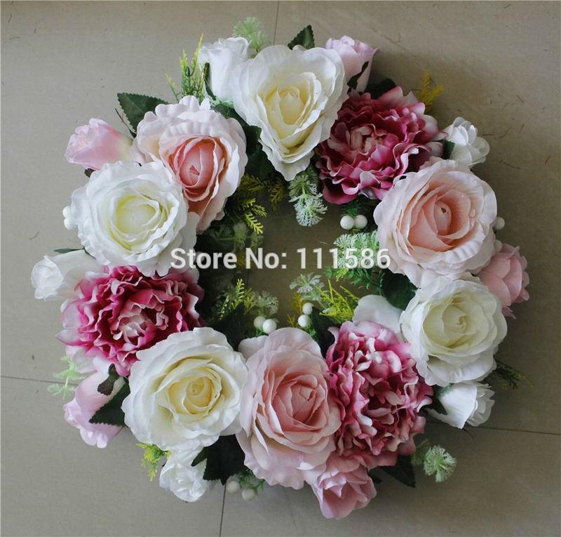 Großhandel Hochzeit Tisch Herzstück Kerze Stick Blume Künstliche Dekorative  Blumen Kränze Hochzeit Seide Rose Blumen Kranz Krone Von Yuntengfu44190, ...