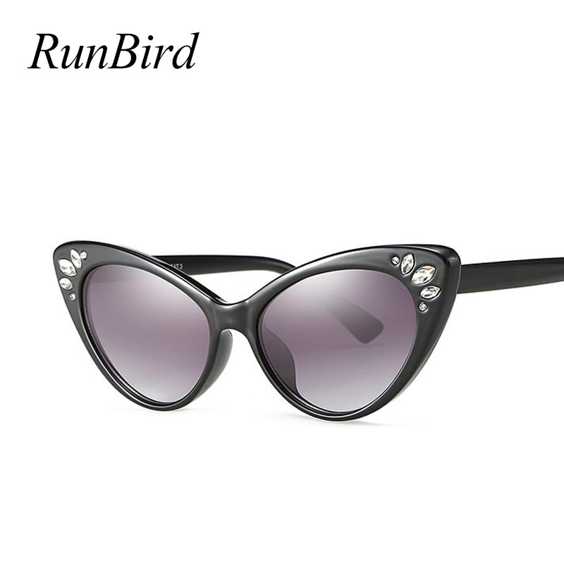 032f6579a0c Luxury Cat Eye Sunglasses Women 2018 Rhinestone Sunglasses Female ...