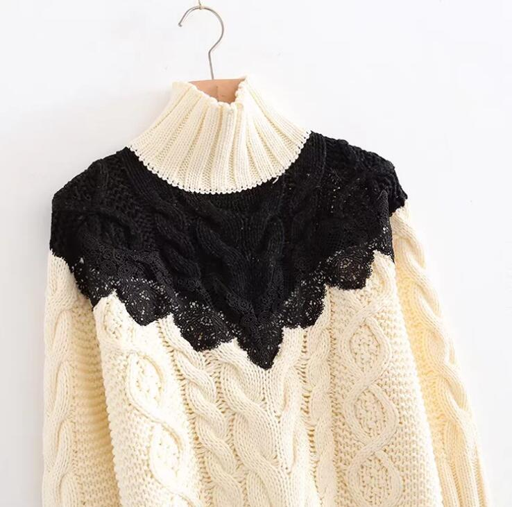 2017 Women Lace Patchwork Turtleneck Sweater Cable Knit Twist Knitting Pullovers Female Elegant Knit Jumper
