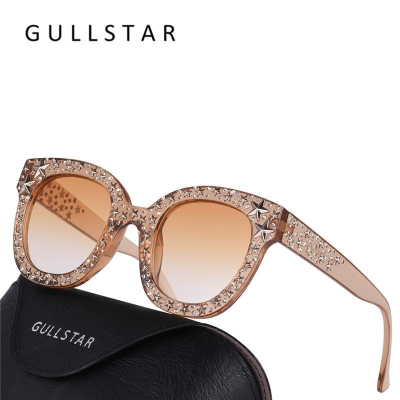 Compre Atacado Moda Feminina Quadrado Óculos De Sol Da Marca De Luxo  Designer Strass Estrela Óculos De Sol De Alta Qualidade Shades Oculos De Sol  De ... 467ed4d589