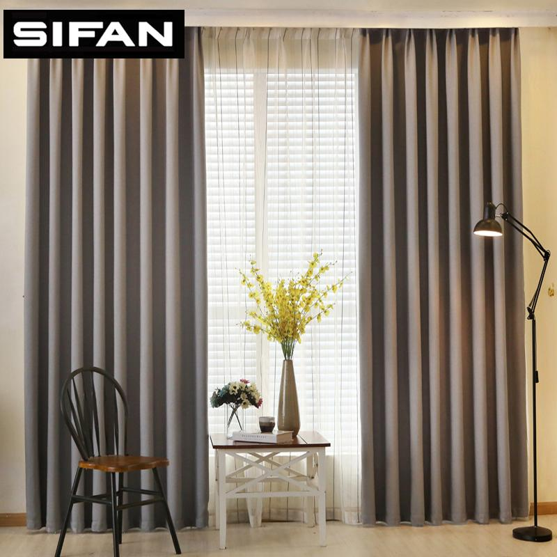 2019 Solid Color Faux Linen Blackout Curtains For Living Room Modern ...