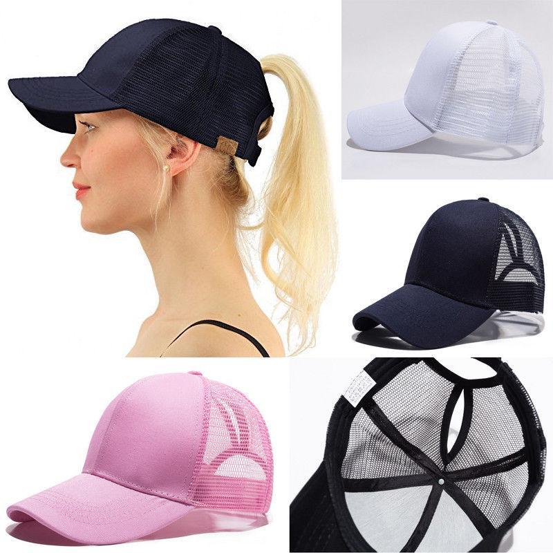059810ba Adjustable Ponytail Mesh Plain Trucker Baseball Cap For Unisex Women Men  Casual Fashion Solid Adult Hat Ny Cap Mens Caps From Amsunshine, $37.36   DHgate.Com