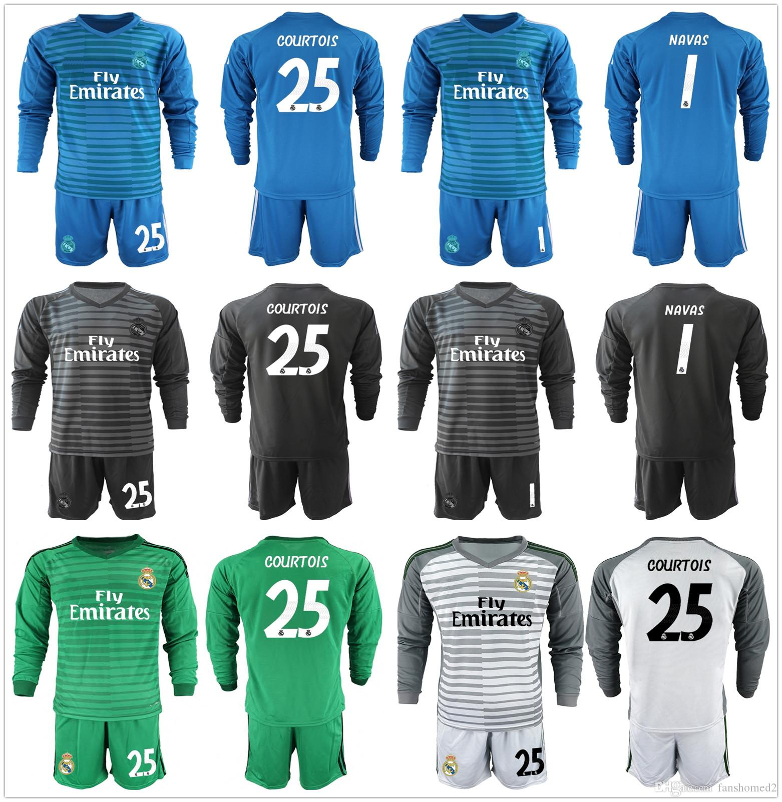 1b29a19eb8e 2019 2018 2019 Long Sleeve Real Madrid Soccer Set Goalkeepe Kit Keylor  Navas 25 Courtois Goalkeeper Madrid Jersey Bale Shirt Full Uniform Men From  ...