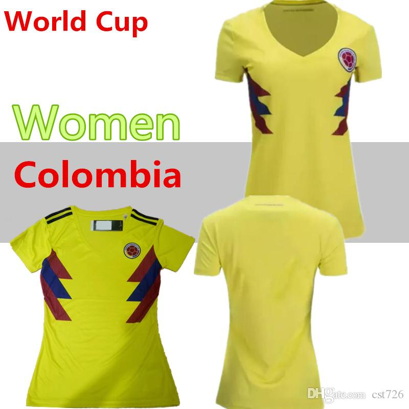 36f6d6867 2019 2018 World Cup Women Colombia National Team Jersey Colombia Home  Yellow Girl Soccer Jerseys 2018 World Cup #10 JAMES Female Football Shirt  From Cst726, ...