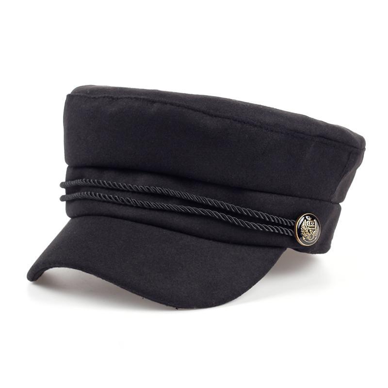 Compre Moda En Blanco Negro De Alta Calidad Newsboy Caps Para Mujer  Primavera Otoño Invierno Sombreros De Fieltro Invierno Para Mujer Sombrero  Negro Gorra ... 60a0b907a54