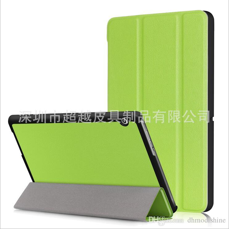 For HUAWEI Mediapad T3 10.0 Three fold Fashion Smart Sleep PU Lichee Grain Leather flip Cover Solid Color Case