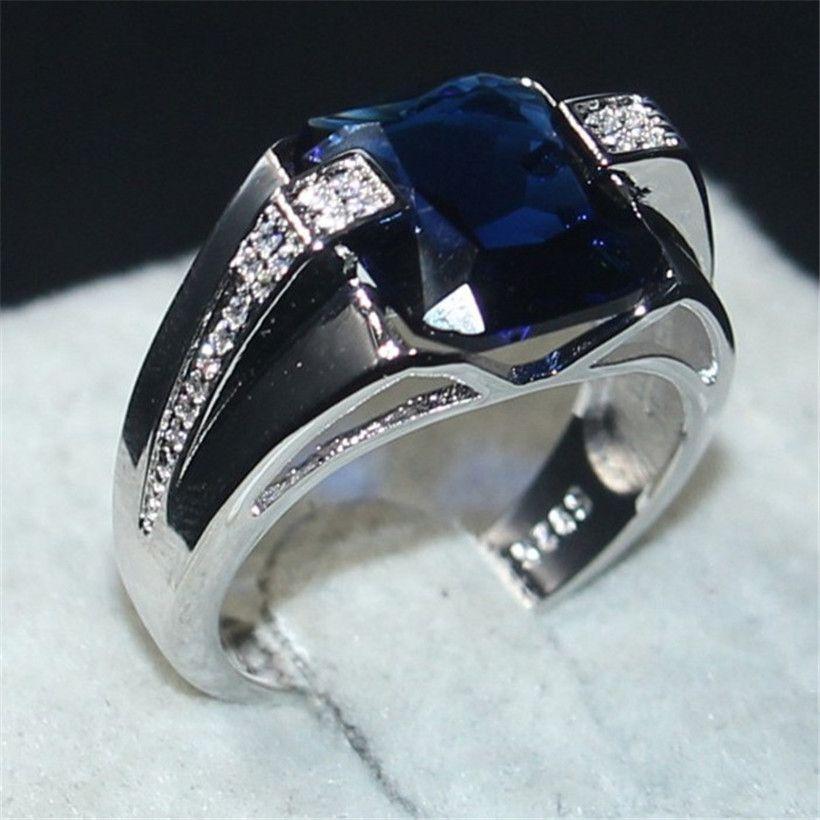 6bea8f42e2d3 Compre Choucong Joyas De Los Hombres 925 De Plata De Ley Grande 6CT  Cuadrado Azul 5a Circón Anillo De Alianzas De Boda De Compromiso De Piedra  Para Hombres ...