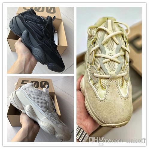 9e108dee343a6 Kanye West 500 Boost Mens Women Running Shoes Utility Black New Top Qualit  Sport Designer Sneakers Size 36-46 Kanye West 500 500 Boost West 500 Boost  Online ...
