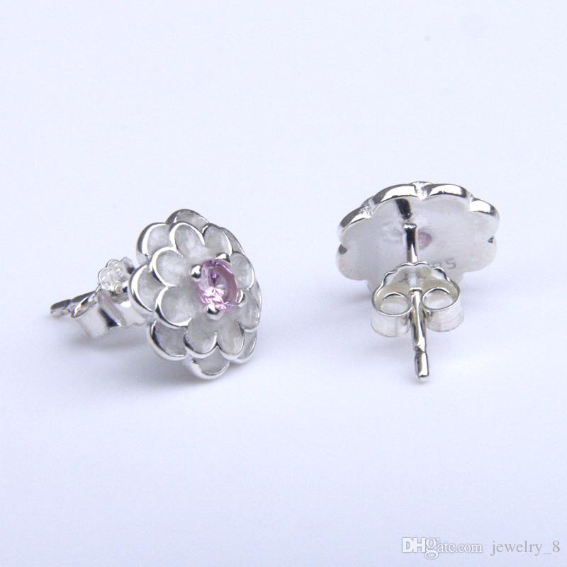 Spring Collection 925 Sterling Silver White Flower Elegant Stud Earrings Women Wedding Luxury Jewelry Pandora style