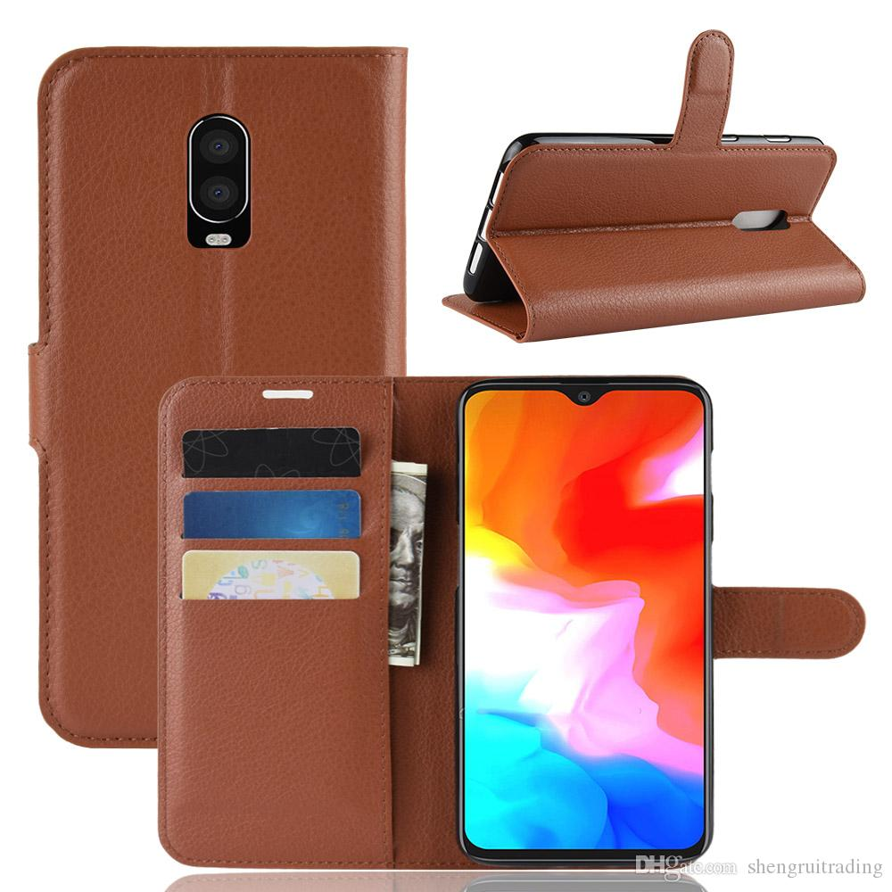 New Litchi Pattern Flip Magnetic PU Leather Wallet Stand Phone Case For Oneplus 5 5T One Plus 6 6T Lychee Grain Cover