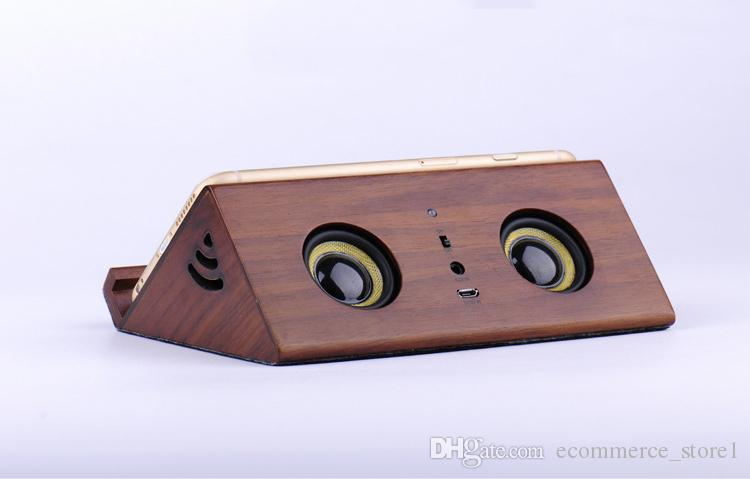 Portable Wood induction Speaker Tablet stand Mobile phone stents cellphone support Wireless audio wood sound for iphoneX 8 7 Smart Phone