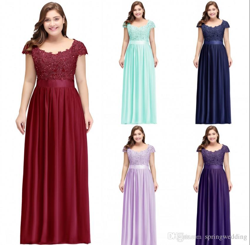 944a4f6da733 Vestidos Para Madrinhas Plus Size Plus Size Mulheres Ocasião Formal Evening  Prom Vestido A Linha Sheer Lace Apliques Top Chiffon Saia Longo Bridesmaids  ...