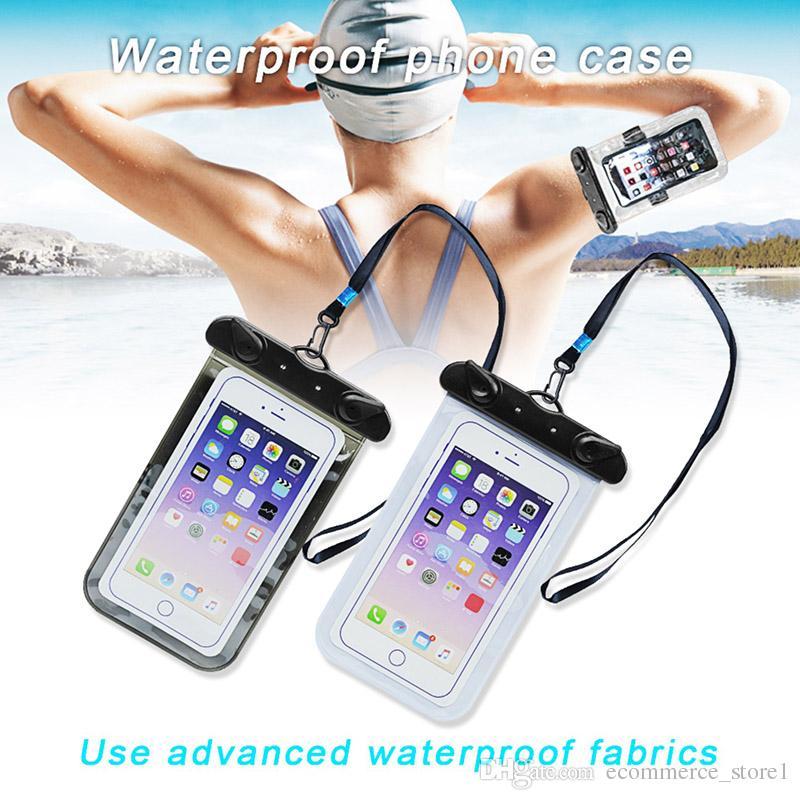 Impermeabile copertura della cassa del telefono 5,5 pollici sacchetto impermeabile custodia del telefono cellulare copertura della cassa asciutta subacquea canoa kayak rafting nuoto alla deriva