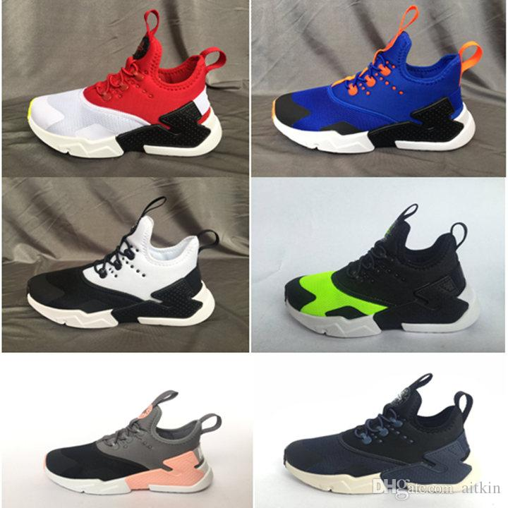 new concept 0ae65 4d92e 2018 New Air Huarache Kids Running Shoes Portable Children Athletic  sneakers big Boys Girls Sports Training Sneaker blue orange Size 22-35