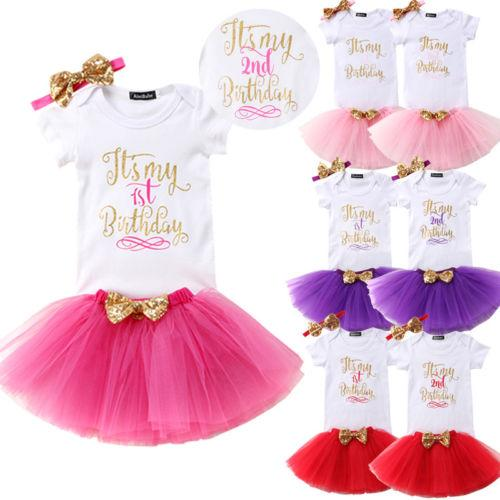 2019 Baby Girl Kids First Second Birthday Outfit Its My Outift Bodysuit With Skirt From Buycenter 3243