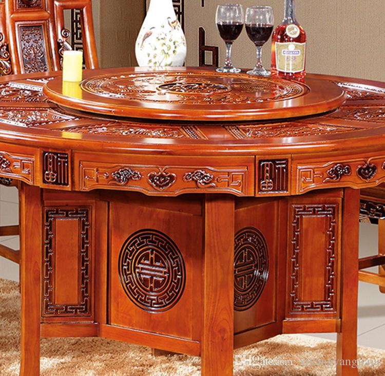 Solid wood Ming and Qing antique dining table and chairs home Chinese  rubber wood carved classical with turntable round table combination