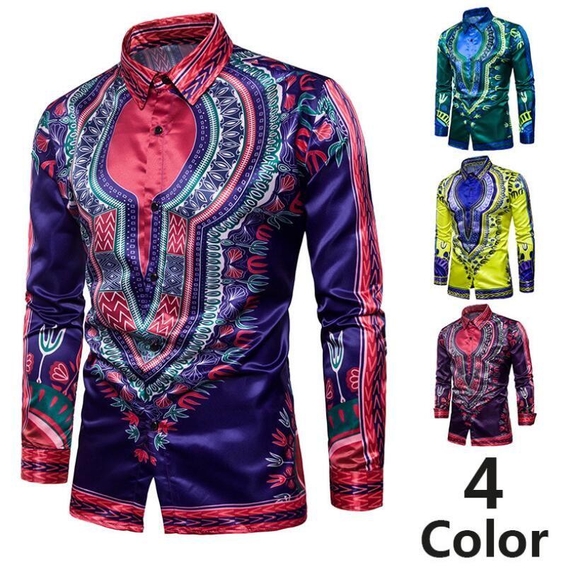 70f8ff4dc2f 2019 African Traditional Clothing Print Dashiki Shirt Button Up Long Sleeves  Turndown Collar Slim Cool Fashion Design Men Tee Shirt From Haoyunlai2017
