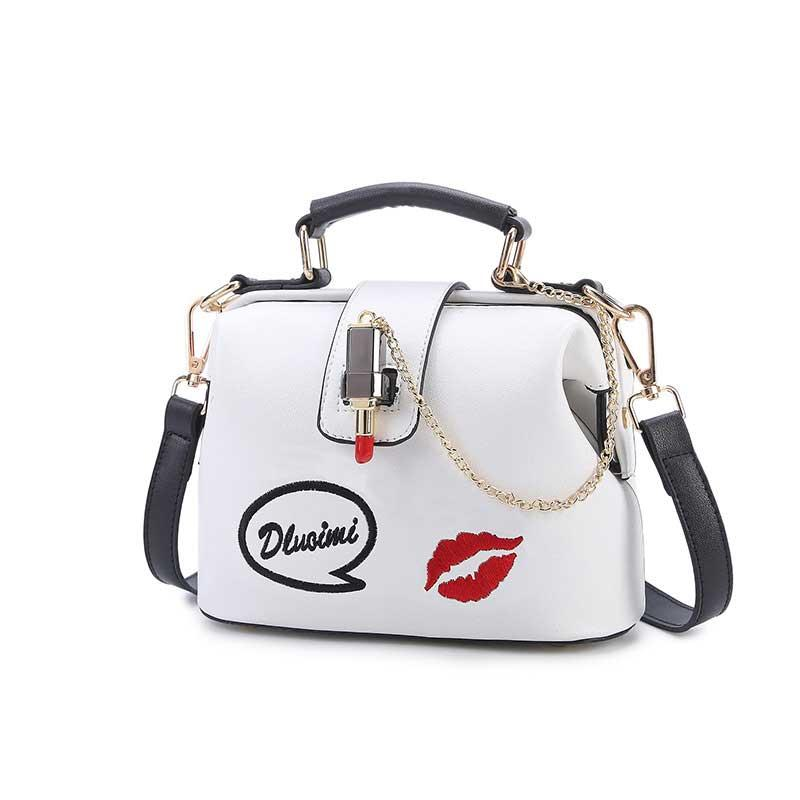2018 Fashion Trends Simple Women's Shoulder Bag Pink White Embroidered Lipstick Tote Willow Nail Reinforced Crossbody Bag