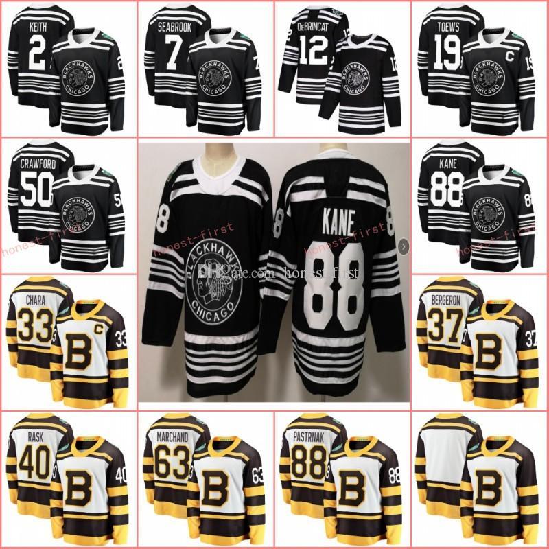 on sale 28c2e e0fe6 2019 Winter Classic Boston Bruins Pastrnak Rask Bergeron Chara Marchand  Chicago Blackhawks Jonathan Toews Patrick Kane Keith Crawford Jersey