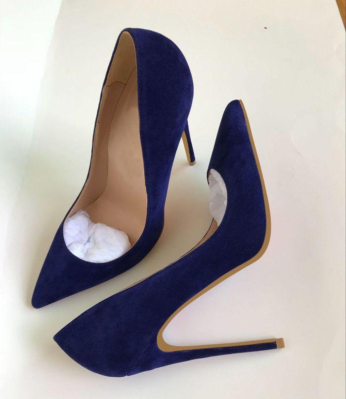 574365f71def 8cm 10cm 12cm Blue Suede High Heels Woman Sexy Wedding Party Red ...