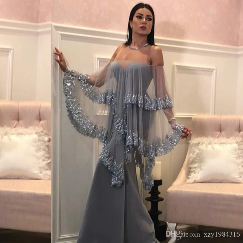 561755a6 Charming Dubai Strapless Prom Dress With Wrap Sequins Beads Lace Applique  Satin Mermaid Party Dress Sexy Zipper Back Women Evening Wear Gown Xscape  Prom ...