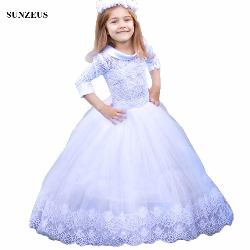 7f995d8542e6 Acquista Abito Da Ragazza Di Fiore Bianco Con Abito Da Ballo In Pizzo A Tre  Quarti Bambini Puffy Tulle Wedding Kids Gown Flg051 A  153.39 Dal  Hbbz2366134736 ...