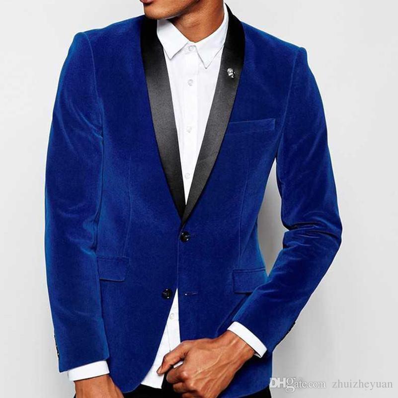 2018 Nuevos trajes de boda de terciopelo azul real Padrinos de boda Esmoquin negro solapa del chaleco Slim Fit trajes de fiesta de noche por encargo chaqueta + pantalones
